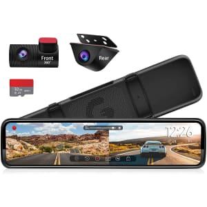 """Pormido 12"""" Rear-View Mirror Dash Camera for $200"""