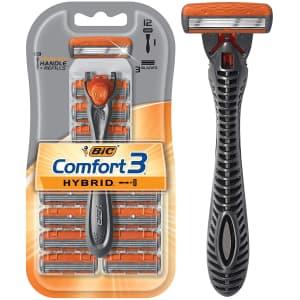 Bic Men's Comfort 3 Hybrid 3-Blade Disposable Razor w/ 12 Cartridges for $10