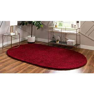 Unique Loom Solo Solid Shag Collection Area Modern Plush Rug Lush & Soft, 3' 3 x 5' 3 Oval, Cherry for $42
