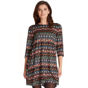 Dress Works Women's Holiday Print Swing Dress for $5