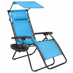 Best Choice Products Folding Zero Gravity Outdoor Recliner Patio Lounge Chair w/Adjustable Canopy for $146