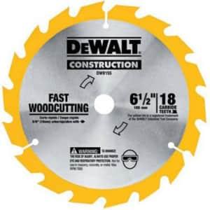 DEWALT DW9155 6-1/2-Inch 18 Tooth ATB Fast Cutting Carbide Saw Blade with 5/8-Inch Arbor for $17
