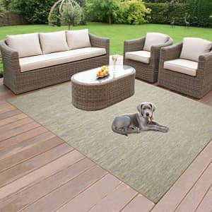 """Ottomanson Sundance Collection Reversible Indoor & Outdoor Solid Design Area Rug, 5'3"""" x 7', Green for $47"""