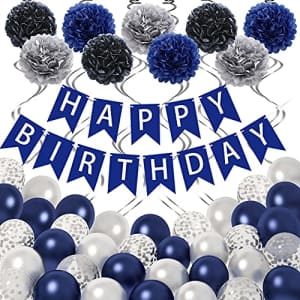 Ouddy Blue Birthday Decorations for Men Women, 65Pcs Birthday Party Supplies with Happy Birthday Banner for $11