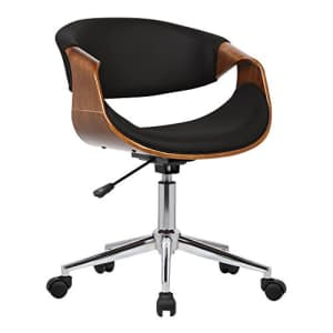 Armen Living Geneva Office Chair in Black Faux Leather and Chrome Finish for $139