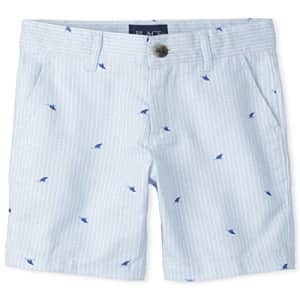 The Children's Place Boys Striped Oxford Chino Shorts, Creek, 4 for $16