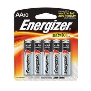 Energizer Max AA Batteries, 1.5 volt Alkaline, Pack of Ten for $10