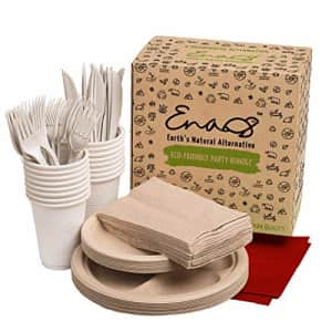 Earth's Natural Alternative Eco-friendly Camping Supplies [16 Dinnerware Set] for Picnic Basket & Party Supplies. Compostable for $13
