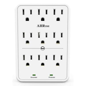 Powrui 9-Outlet Surge Protector for $7