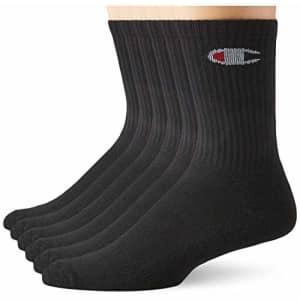 Champion Double Dry 6-Pair Pack Logo Crew Socks for $26