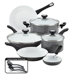 Farberware Ceramic Nonstick Cookware Pots and Pans Set, 12 Piece, Gray for $100
