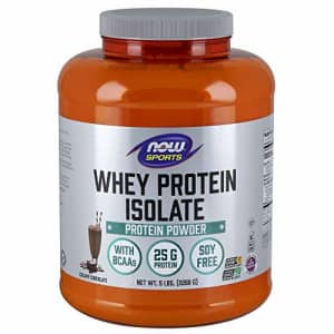 Now Foods NOW Sports Nutrition, Whey Protein Isolate, 25 G With BCAAs, Creamy Chocolate Powder, 5-Pound for $95