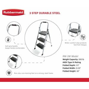 Rubbermaid RM-3W 3-Step Stool Ladder, Silver for $63