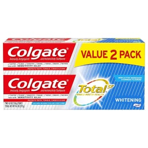 Colgate Total Whitening Toothpaste 9.6-oz 2-Pack for $6