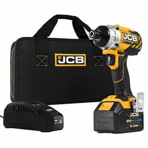 JCB Tools - JCB 20V Cordless Brushless Impact Driver Power Tool - 5.0Ah Battery, Charger, Zip Case for $83