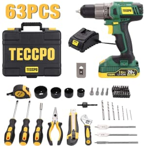 Teccpo 63-Piece Drill and Home Tool Kit for $90