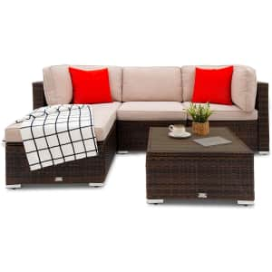 Oakville Furniture Ancaster 5-Piece Rattan Patio Sectional Sofa Set for $540