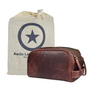 "Aaron Leather 10"" Premium Leather Dopp Kit / Toiletry Bag for $34"