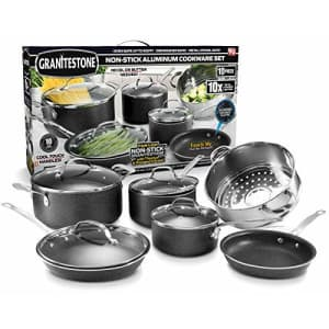 GRANITESTONE 10 Piece Nonstick Cookware Set, Scratch-Resistant, Granite-Coated, Dishwasher and for $89