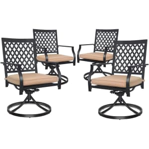 Coidak 4-Piece Outdoor Swivel Dining Chair Set for $184