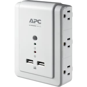 APC SurgeArrest 6-Outlet 2-USB Wall Mount Surge Protector for $16