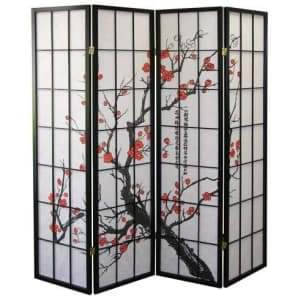 Roundhill Furniture Plum Blossom 4-Panel Room Divider for $73