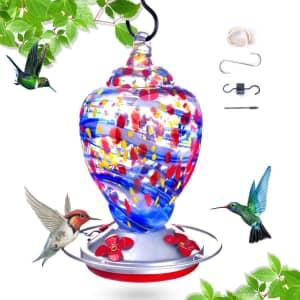 K Kernowo Glass Hummingbird Feeder for $13