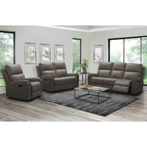 Abbyson Living Everett Top-Grain Leather 3-Piece Reclining Sofa Set for $2,500 for members