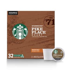 Starbucks Medium Roast K-Cup Coffee Pods Pike Place Roast for Keurig Brewers 1 box (32 pods) for $27