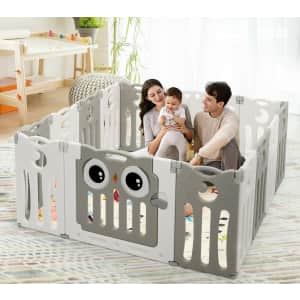Costway 14-Panel Kids' Foldable Play Yard with Locking Door for $99