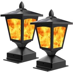 BlueYang Flickering Flame LED Solar Post Light 2-Pack for $30