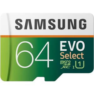 Samsung EVO Select 64GB microSDXC UHD Memory Card with Adapter for $11