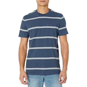 Tommy Hilfiger Men's Short Sleeve Crewneck T Shirt with Pocket, VMBL251 Navy Heather, XS for $21