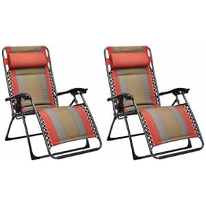 Amazon Basics Padded Zero Gravity Patio Chair - Red, 2-Pack for $175