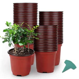 """Growneer 4"""" Plastic Pot 120-Pack w/ 15 Plant Labels for $9"""