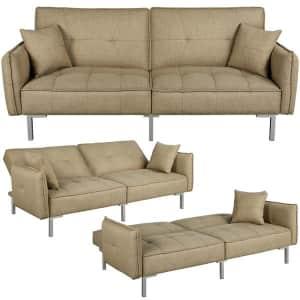 Alden Design Fabric Futon Sofa Bed with Adjustable Backrest for $269