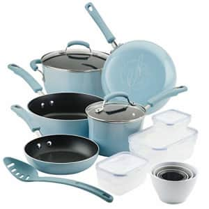 Rachael Ray Brights Nonstick Cookware Pots and Pans Set with LocknLock Containers, 19 Piece, Sky for $149