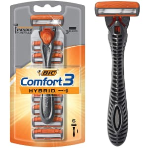 Bic Comfort 3 Hybrid Men's 3-Blade Disposable Razor with 6 Cartridges for $5