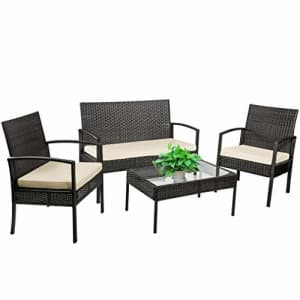 FDW 4 Pieces Outdoor Wicker Patio Furniture Sets Rattan Chair Wicker Conversation Set Patio Chair for $345