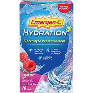Emergen-C Hydration+ Sports Drink Mix With Vitamin C (18 Count, Raspberry Flavor), Electrolyte for $10