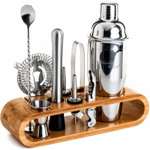 Mixology 10-Piece Bartender Kit w/ Bamboo Stand for $50
