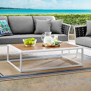 Modway Stance Outdoor Patio Contemporary Modern Wood Grain Aluminum Coffee Table In White Natural for $388
