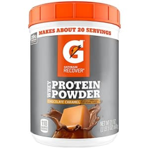 Gatorade Whey Protein Powder, Chocolate Caramel, 21 Ounce (20 servings per canister, 20 grams of for $49
