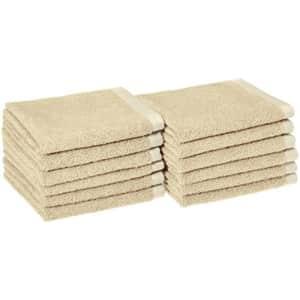 Amazon Basics Quick-Dry, Luxurious, Soft, 100% Cotton Towels, Linen - Set of 12 Washcloths for $30