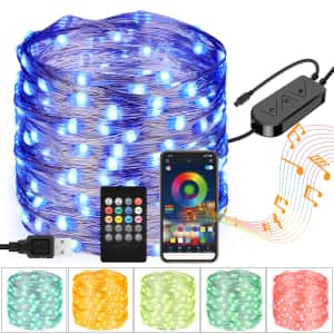 33ft. 100-LED Bluetooth Color-Changing USB Lights w/ Remote for $13