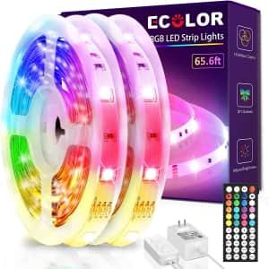 Ecolor 65.6-Ft. Color-Changing LED Strip Lights for $26