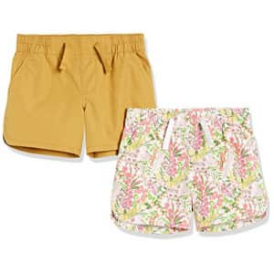 Amazon Essentials Girls Pull-On Woven Shorts, 2-Pack Floral/Gold, Medium for $21