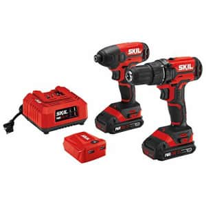 Skil 2-Tool Combo Kit: 20V Drill Driver and Impact Driver, Includes Two 2.0Ah Lithium Batteries, for $206