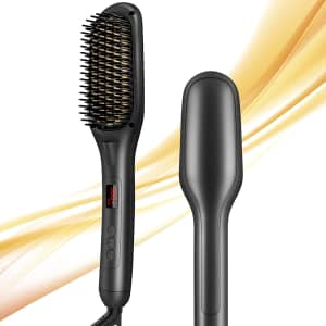 Graphene Times 2-in-1 Ionic Hair Straightener Brush for $25