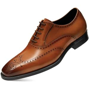Frasoicus Men's Leather Oxford Dress Shoes for $34
